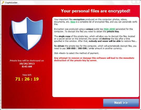 CryptoLocker Message